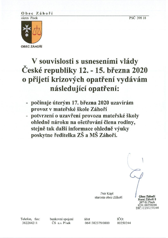 Uzavření Mateřské školy Záhoří -Ošetřovné